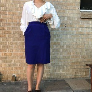 Vintage 1980s blue fitted skirt with pockets 2 sm